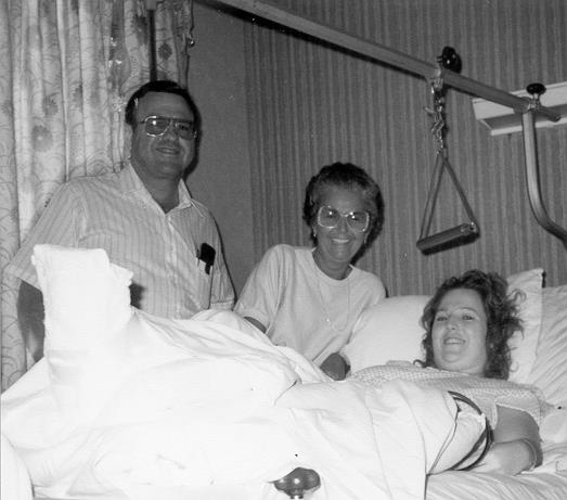 Pam with parents in hospital